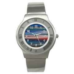 Background Horizontal Lines Stainless Steel Watch
