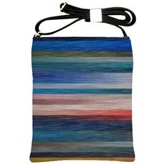 Background Horizontal Lines Shoulder Sling Bags