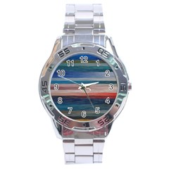 Background Horizontal Lines Stainless Steel Analogue Watch