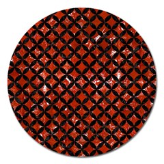 Circles3 Black Marble & Red Marble (r) Magnet 5  (round)