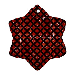 Circles3 Black Marble & Red Marble (r) Snowflake Ornament (two Sides)