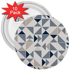 Geometric Triangle Modern Mosaic 3  Buttons (10 Pack)