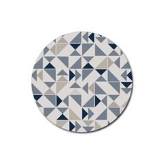 Geometric Triangle Modern Mosaic Rubber Coaster (Round)