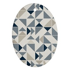 Geometric Triangle Modern Mosaic Oval Ornament (two Sides)