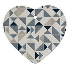 Geometric Triangle Modern Mosaic Heart Ornament (2 Sides)
