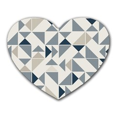Geometric Triangle Modern Mosaic Heart Mousepads