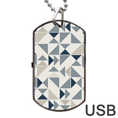 Geometric Triangle Modern Mosaic Dog Tag Usb Flash (two Sides)