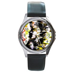 Canvas Acrylic Digital Design Art Round Metal Watch