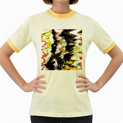 Canvas Acrylic Digital Design Art Women s Fitted Ringer T Shirts
