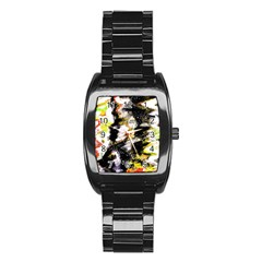Canvas Acrylic Digital Design Art Stainless Steel Barrel Watch