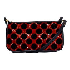 Circles2 Black Marble & Red Marble (r) Shoulder Clutch Bag