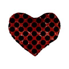 Circles2 Black Marble & Red Marble (r) Standard 16  Premium Flano Heart Shape Cushion