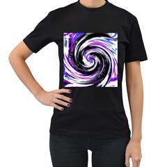 Canvas Acrylic Digital Design Women s T Shirt (black) (two Sided)