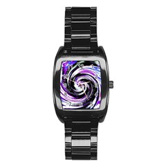 Canvas Acrylic Digital Design Stainless Steel Barrel Watch