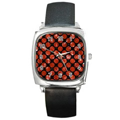 Circles2 Black Marble & Red Marble Square Metal Watch