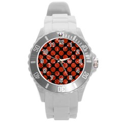 Circles2 Black Marble & Red Marble Round Plastic Sport Watch (l)