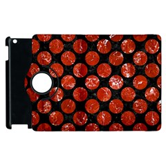 Circles2 Black Marble & Red Marble Apple Ipad 2 Flip 360 Case