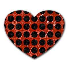 Circles1 Black Marble & Red Marble (r) Heart Mousepad