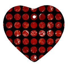 Circles1 Black Marble & Red Marble Heart Ornament (two Sides)