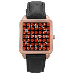 Circles1 Black Marble & Red Marble Rose Gold Leather Watch