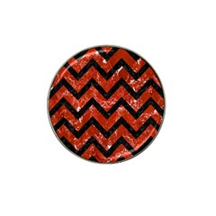 Chevron9 Black Marble & Red Marble (r) Hat Clip Ball Marker (4 Pack)