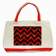 Chevron9 Black Marble & Red Marble (r) Classic Tote Bag (red)