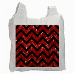 Chevron9 Black Marble & Red Marble (r) Recycle Bag (one Side)