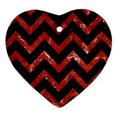 Chevron9 Black Marble & Red Marble Heart Ornament (two Sides)