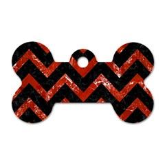 Chevron9 Black Marble & Red Marble Dog Tag Bone (one Side)