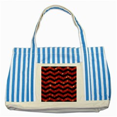 Chevron3 Black Marble & Red Marble Striped Blue Tote Bag