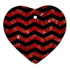 Chevron3 Black Marble & Red Marble Heart Ornament (two Sides)