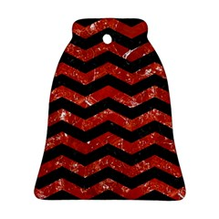Chevron3 Black Marble & Red Marble Bell Ornament (two Sides)