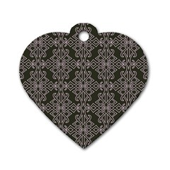 Line Geometry Pattern Geometric Dog Tag Heart (one Side)
