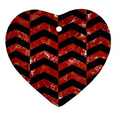 Chevron2 Black Marble & Red Marble Heart Ornament (two Sides)