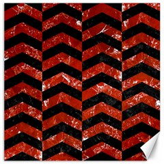 Chevron2 Black Marble & Red Marble Canvas 20  X 20
