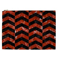 Chevron2 Black Marble & Red Marble Cosmetic Bag (xxl)