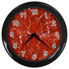 Brick2 Black Marble & Red Marble (r) Wall Clock (black)
