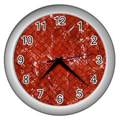 Brick2 Black Marble & Red Marble (r) Wall Clock (silver)