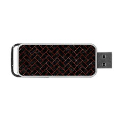 Brick2 Black Marble & Red Marble Portable Usb Flash (one Side)