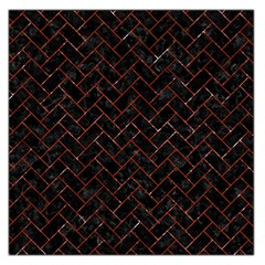 Brick2 Black Marble & Red Marble Large Satin Scarf (square)
