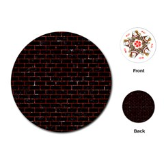 Brick1 Black Marble & Red Marble Playing Cards (round)