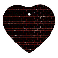 Brick1 Black Marble & Red Marble Heart Ornament (two Sides)