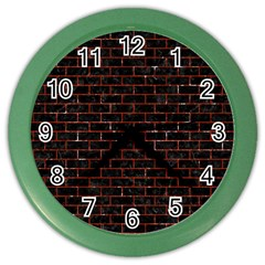 Brick1 Black Marble & Red Marble Color Wall Clock