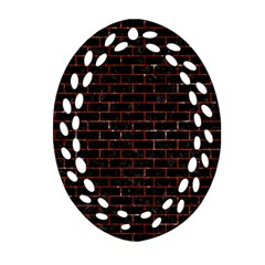 Brick1 Black Marble & Red Marble Oval Filigree Ornament (two Sides)