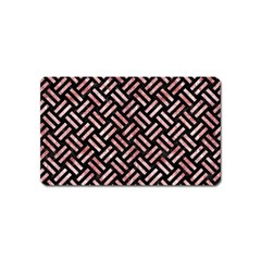 Woven2 Black Marble & Red & White Marble Magnet (name Card)