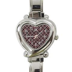 Woven2 Black Marble & Red & White Marble Heart Italian Charm Watch