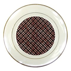 Woven2 Black Marble & Red & White Marble Porcelain Plate