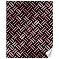 Woven2 Black Marble & Red & White Marble Canvas 11  X 14