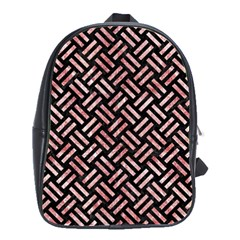 Woven2 Black Marble & Red & White Marble School Bag (large)