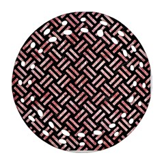 Woven2 Black Marble & Red & White Marble Round Filigree Ornament (two Sides)